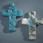 Small Crosses Stamped with Vine Design